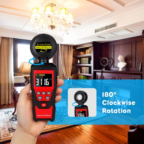 Digital Lux Light Meter Lumenmeter Lux/FC Meters Luminometer, 2000 Counts 0-200000 Lux/0-20000FC (0.01lux/0.01FC Resolution) 3
