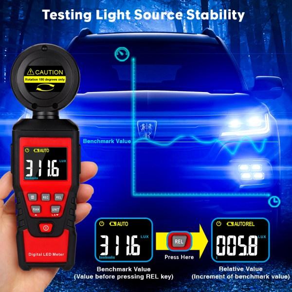 Digital Lux Light Meter Lumenmeter Lux/FC Meters Luminometer, 2000 Counts 0-200000 Lux/0-20000FC (0.01lux/0.01FC Resolution) 8