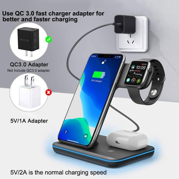 Qi All Wireless Charging Station for iWatch Series 6 5 4 3 2 1, Airpods 2/Pro, Qi Enabled Phones 6