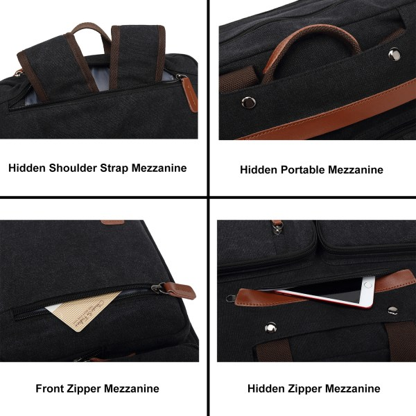 Convertible Backpack Briefcase Messenger Bag 15.6 Inch Laptop Tablet Carrying Case Shoulder Bag Waterproof 6