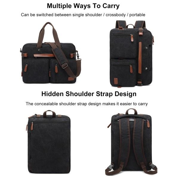 Convertible Backpack Briefcase Messenger Bag 17.3 Inch Laptop Tablet Carrying Case Shoulder Bag Waterproof 2