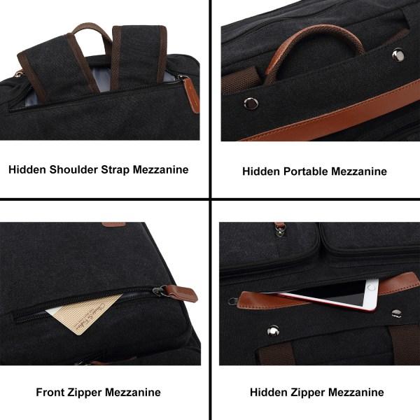 Convertible Backpack Briefcase Messenger Bag 17.3 Inch Laptop Tablet Carrying Case Shoulder Bag Waterproof 5