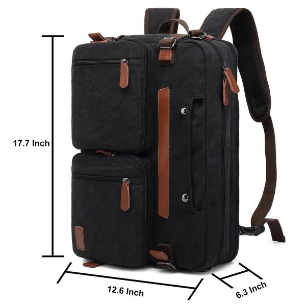 Convertible Backpack Briefcase Messenger Bag 17.3 Inch Laptop Tablet Carrying Case Shoulder Bag Waterproof 6