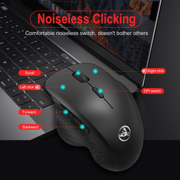 2.4GHz Wireless Mouse Optical Wireless Gaming Vertical Mute Mice 6 Keys, Three-Speed DPI Adjustable 2