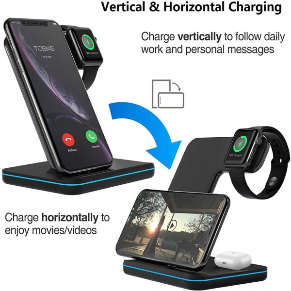 Qi All Wireless Charging Station for iWatch Series 6 5 4 3 2 1, Airpods 2/Pro, Qi Enabled Phones 5