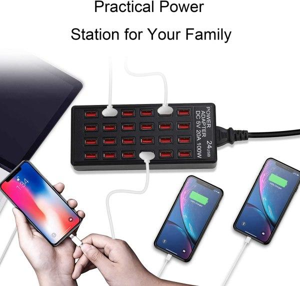 24 Ports Desktop Multiple USB Charger, DC 5V 20A 100W USB Charging Station 4