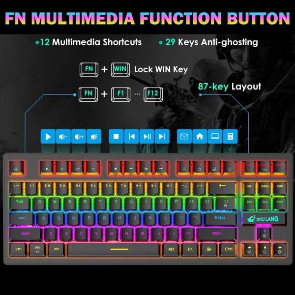 Mechanical Gaming Keyboard Blue Switch 87 Keys USB Wired Rainbow LED Backlit Keyboard For PC Laptop Computer 4