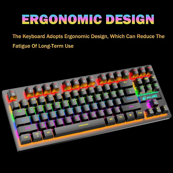 Mechanical Gaming Keyboard Blue Switch 87 Keys USB Wired Rainbow LED Backlit Keyboard For PC Laptop Computer 6