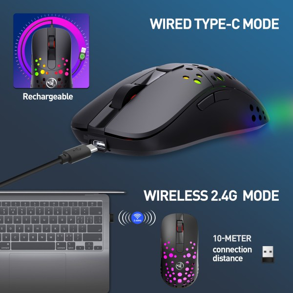 Gaming Mouse, 2.4G Wireless and USB-C Wired Dual-Mode Rechargeable Mice, 6 Programmable Buttons Customize Backlit 2