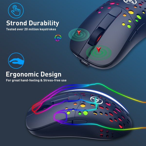 Gaming Mouse, 2.4G Wireless and USB-C Wired Dual-Mode Rechargeable Mice, 6 Programmable Buttons Customize Backlit 4