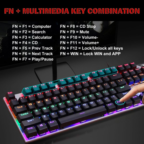 Mechanical Gaming Keyboard Blue Switch 104 Keys USB Wired RGB Backlit Keyboard N-Key Rollover For PC Laptop Computer 3