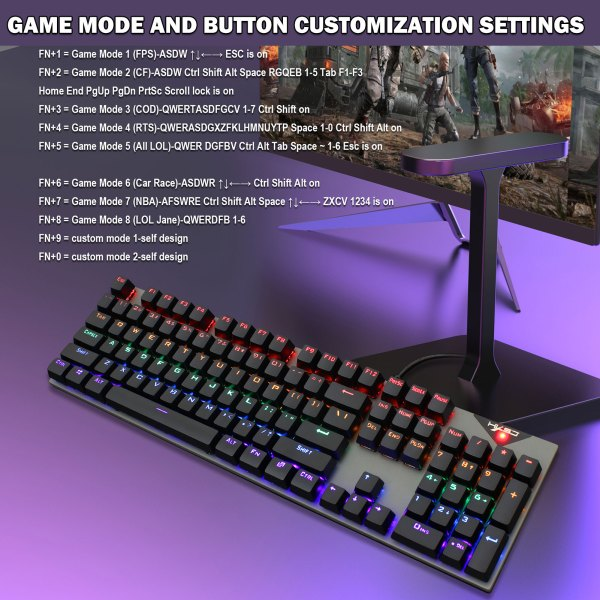 Mechanical Gaming Keyboard Blue Switch 104 Keys USB Wired RGB Backlit Keyboard N-Key Rollover For PC Laptop Computer 5