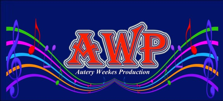 The logo illustrates a dark blue background with awp in the center colour is red n had ablue and white outline, musical notes on both sides but the design of the notes it join with a curve in the center, like when u wants to draw a heart. autery weeks in white in the bottom of awp,but the musical notes are different colours.