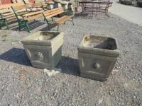 pair of large concrete planters - Authentic Reclamation