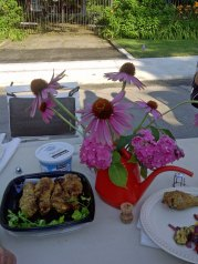 flowers and fried chicken