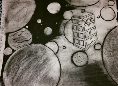 Dr. Who inspired charcoal