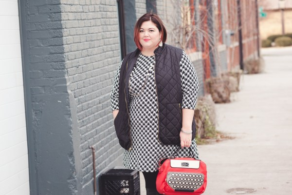 Houndstooth dress and quilted vest on plus size fashion blogger Authentically Emmie