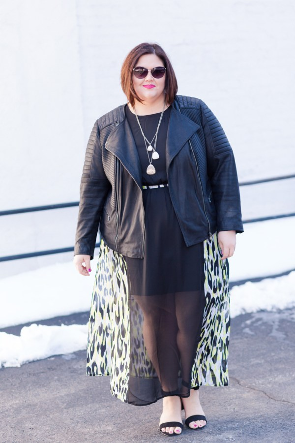 Authentically Emmie in a Simply Be Dress and Shoes, with ASOS Curve jacket and ELOQUII sunglasses