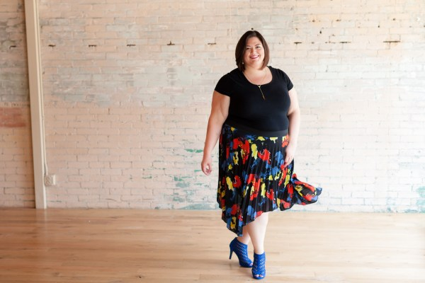 Authentically Emmie in a Simply Be skirt and Lane Bryant shoes
