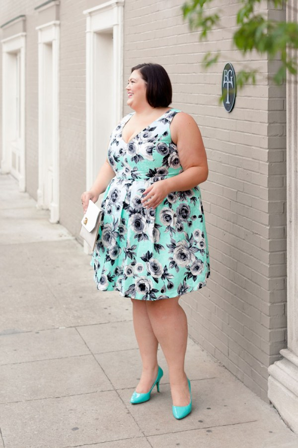 Plus size fashion blogger Authentically Emmie in a City Chic dress from Gwynnie Bee