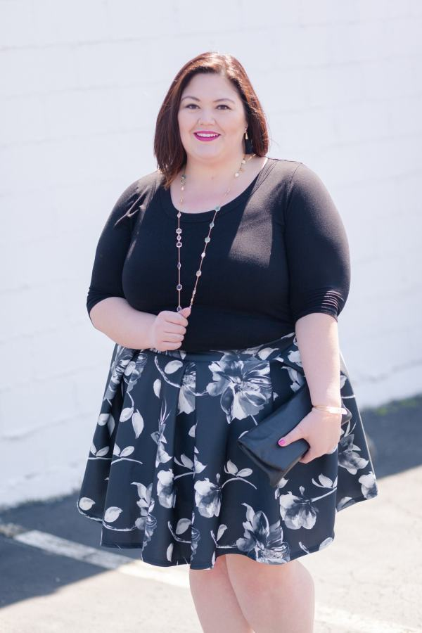 Authentically Emmie in a Karen Kane Dress with a Gwynnie Bee skirt over top.