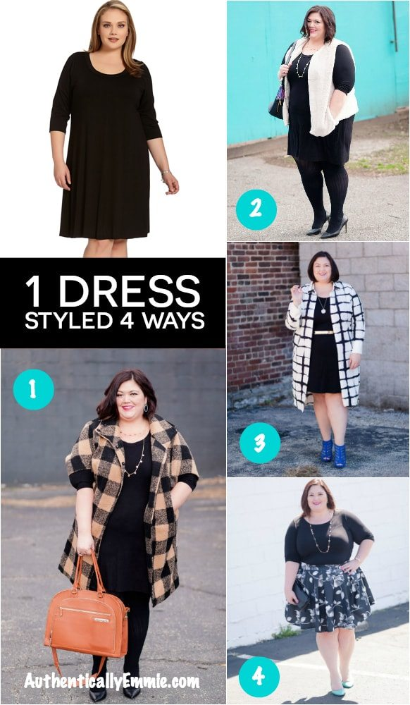One Essential Plus Size Karen Kane Dress Styled Four Ways