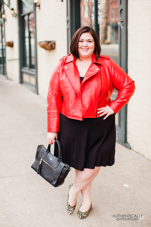 Red, black, and leopard print - a fun, but classic combo! See more of this Eloquii jacket on #plussize blogger Authentically Emmie #ootd