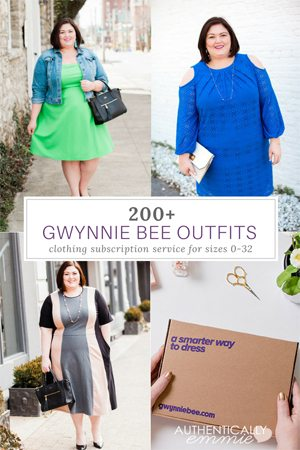 See over 200 plus size outfits from rental subscription box service Gwynnie Bee. Plus size fashion blogger Authentically Emmie has been a member for over 5 years. #plussize #gwynniebee #subscriptionbox #clothingrental