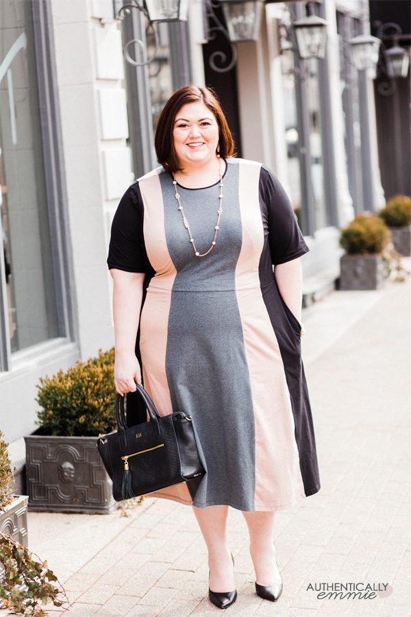 Authentically Emmie in a #plussize eShakti dress from Gwynnie Bee subscription. #ootd