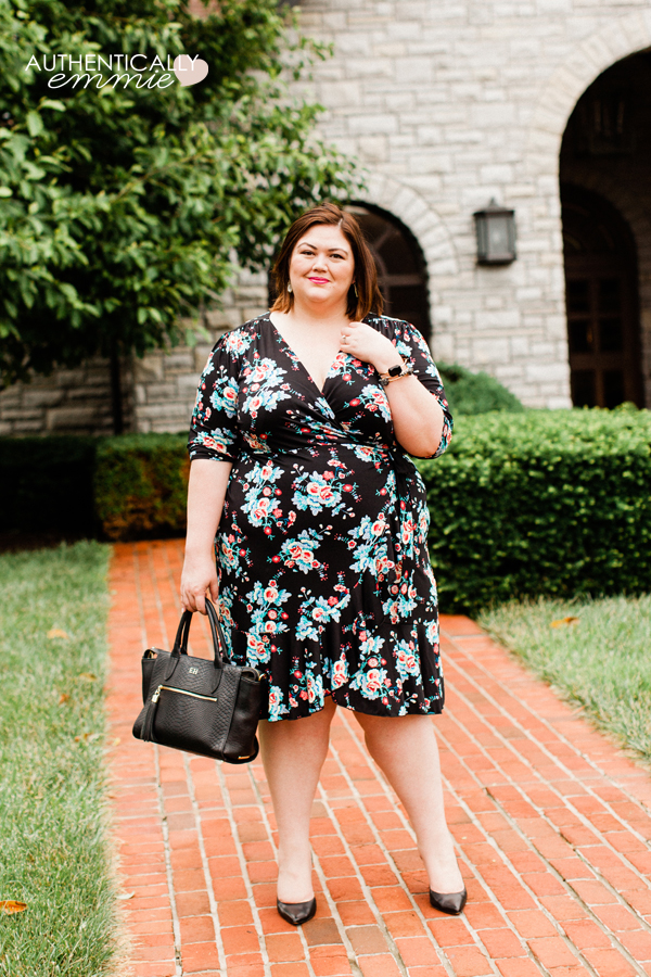 Plus size fashion blogger Emily Ho of Authentically Emmie in a floral wrap dress by Kiyonna from her Gwynnie Bee subscription. See more southern style on her blog. #plussize #ootd