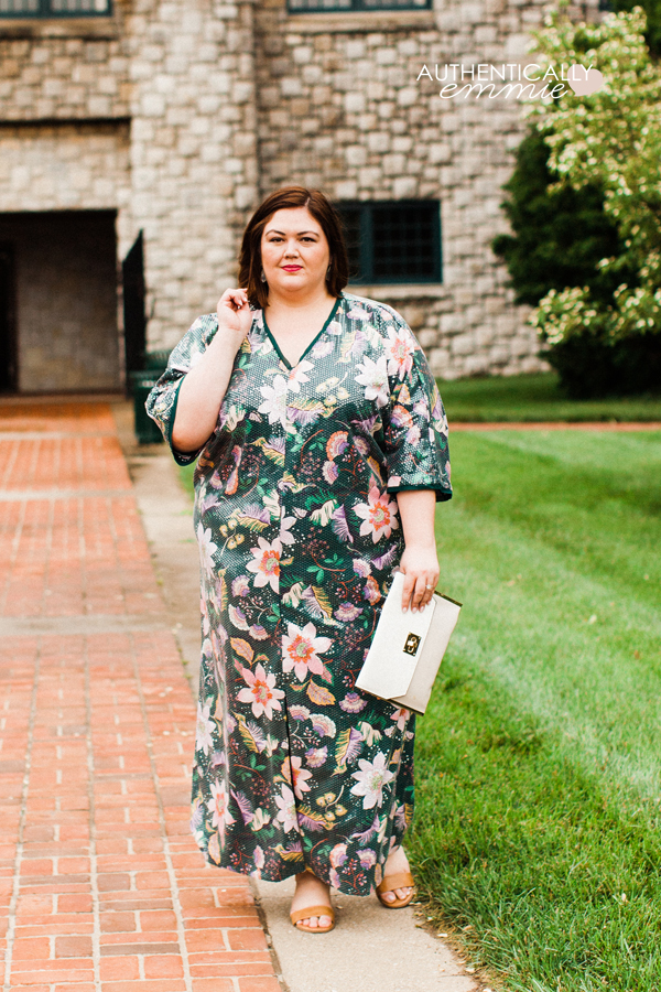 Plus size fashion blogger in a rule-breaking sequin maxi caftan dress from Eloquii - see why wearing what happy is better than wearing what is more