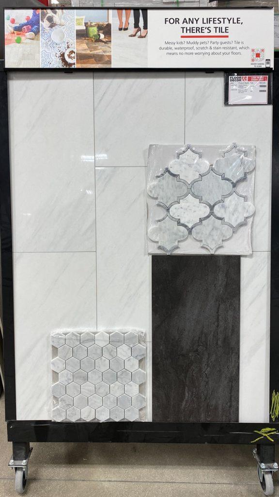 master bathroom design with floor decor