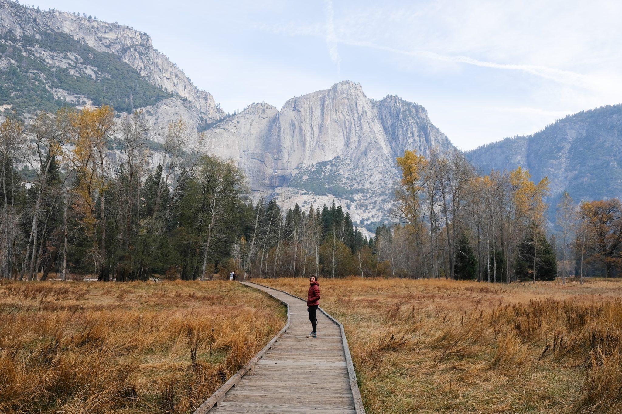 woman on a bridge in Yosemite National Park
