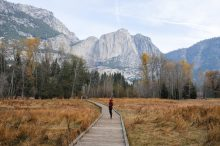 woman on a bridge in Yosemite National Park