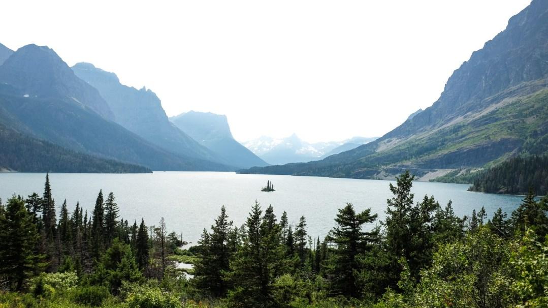tiny island in St. Mary's lake in Glacier National Park