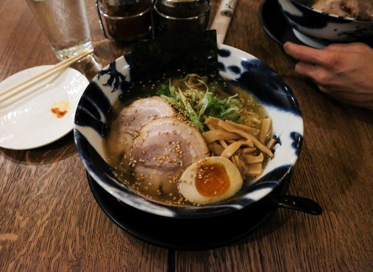 pork ramen with an egg in it from Hinodeya