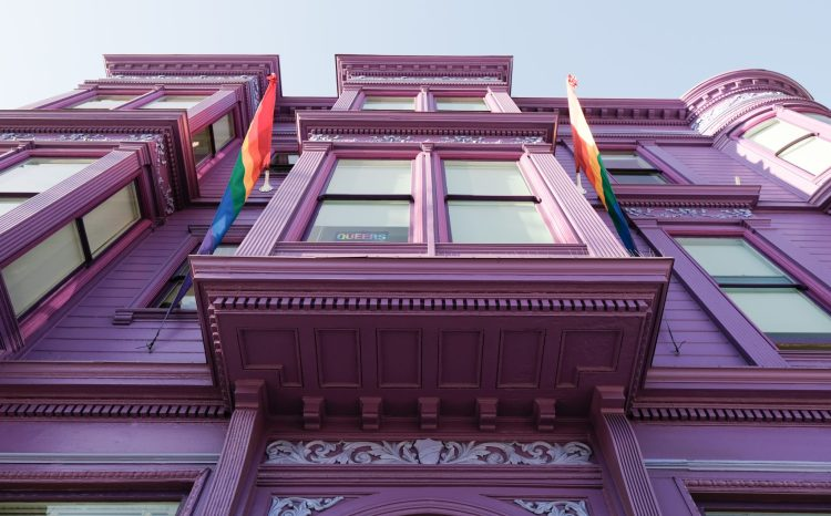 purple building and rainbow flags at the LGBT Center in San Francisco