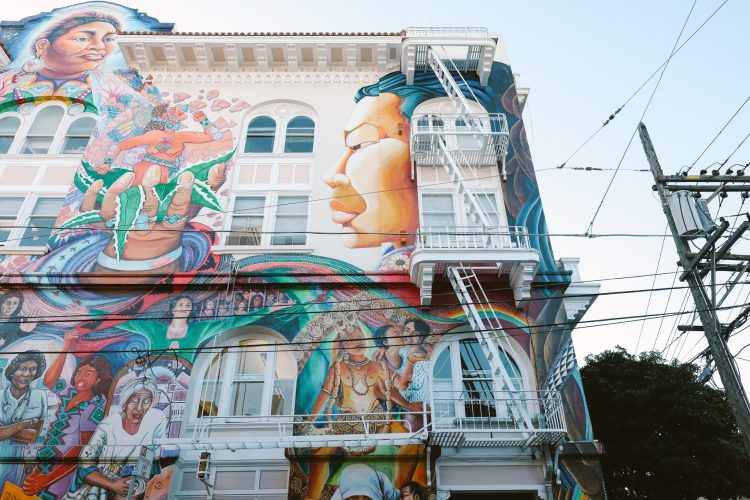 colorful and beautiful mural on the Women's Building