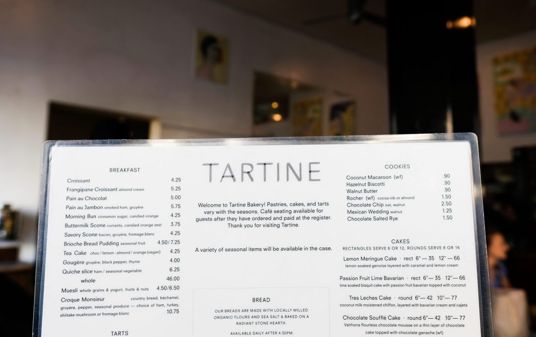 the menu at the Tartine Bakery!