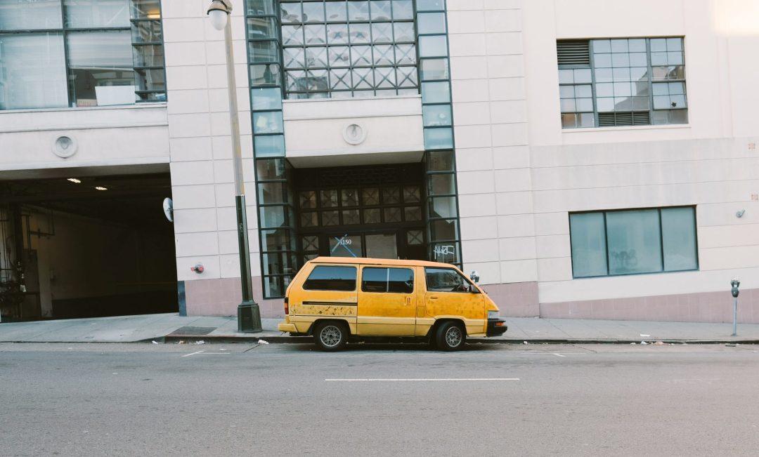 Yellow toyota van in San Francisco