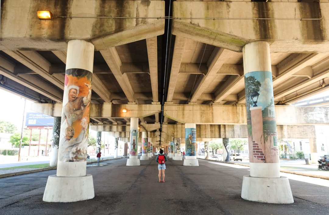 Murals on the underpass in New Orleans, Louisiana