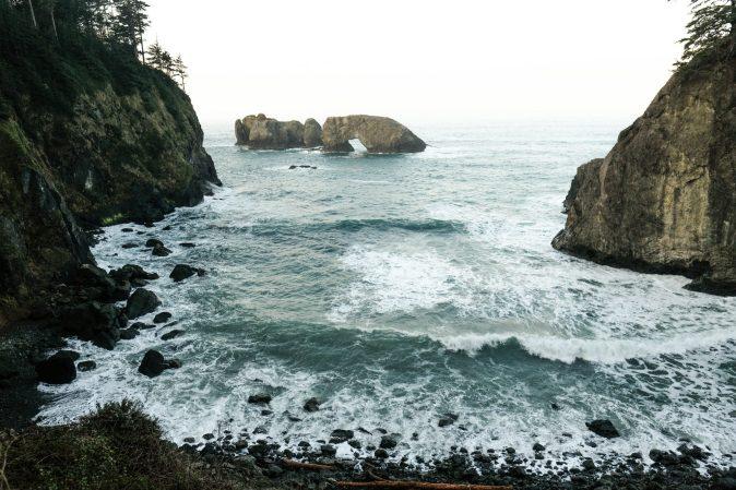 waves breaking on the beach in Oregon