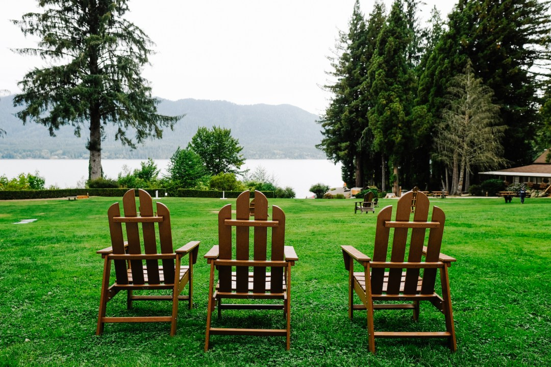 Lawn chairs at Lake Quinault Lodge