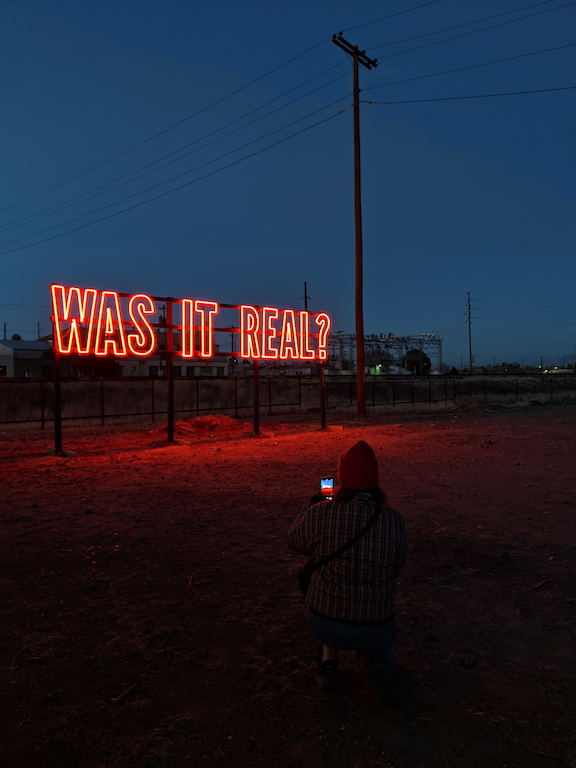 Was it real neon art installation in Marfa, Texas by Kendall Weir