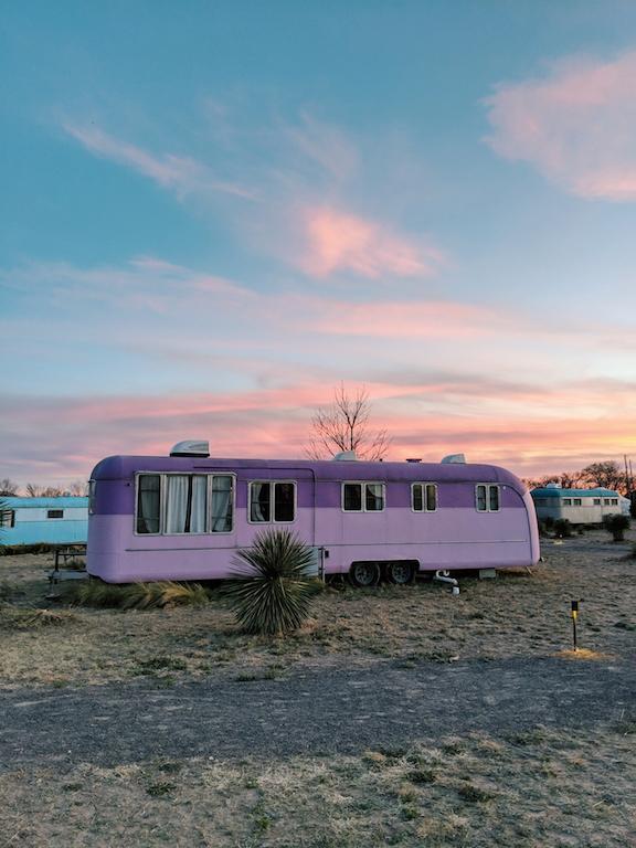 Vintage purple travel trailer at El Cosmico in Marfa, Texas #teampixelsummit