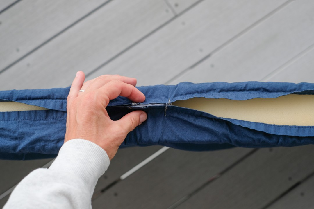 a photo of the velcro used in a camper van bed