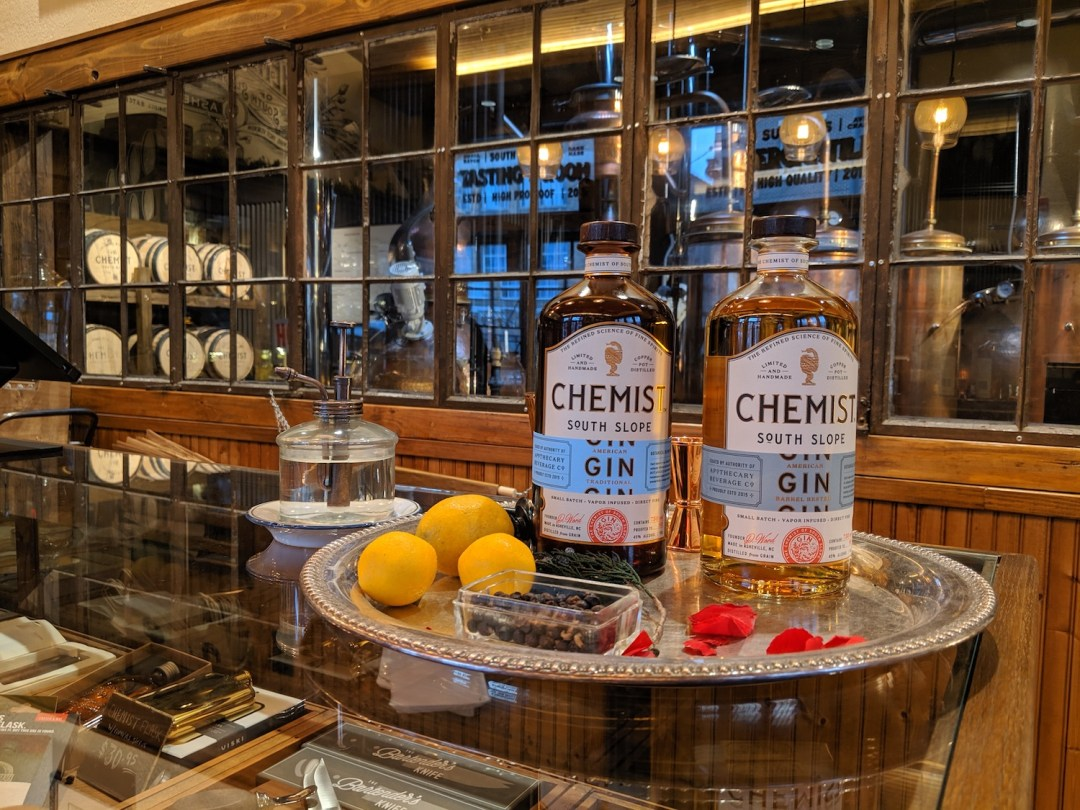 A photo inside the tating room of Chemist Spirits in Asheville, NC.