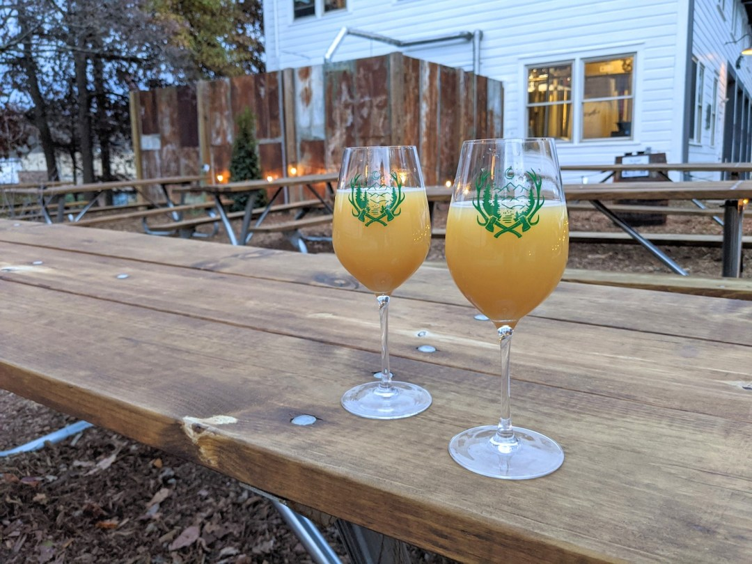 Photo of two beers on a picnic table outside at Forestry Camp a brewery, bar and restaurant in Asheville