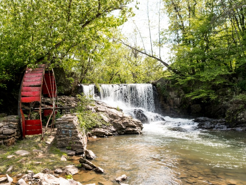 Waterfall and wheel in Weaverville, NC