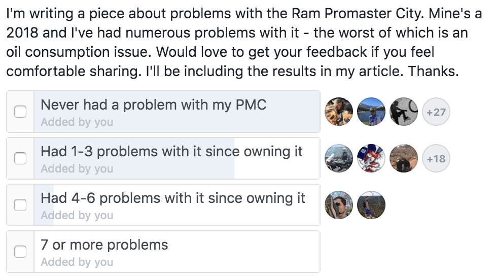 a screenshot of a facebook poll of problems with the Ram Promaster City van.
